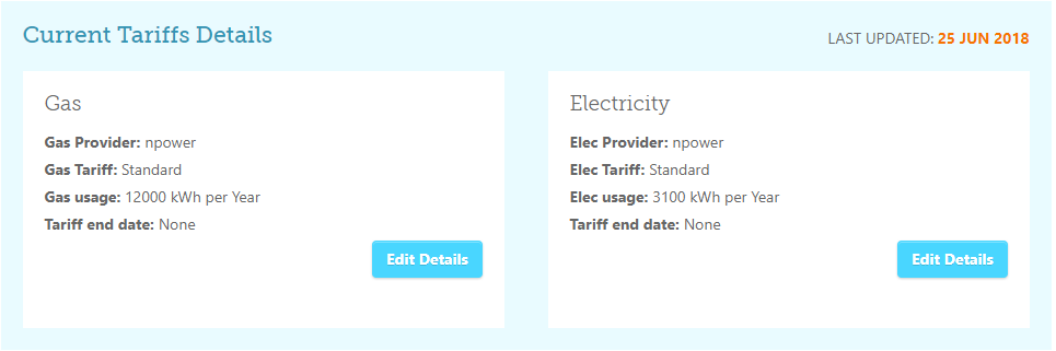 How do I update my usage or tariff details on my Cheap